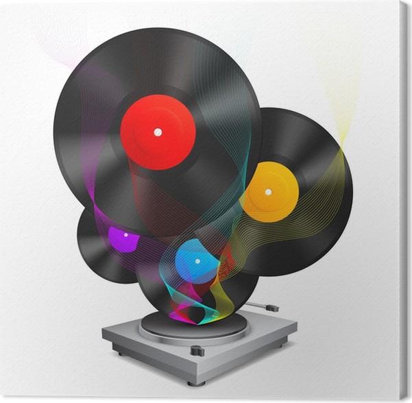 Cuadro en Lienzo Color de discos de vinilo y tocadiscos. • Pixers ...