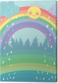 Cuadro en Lienzo Color de fondo con un arco iris, lluvia, sol en el estilo de dibujos animados