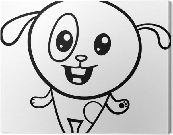 Cuadro en Lienzo Colorear cachorro kawaii caricatura • Pixers ...