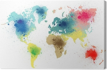 Cuadro en Lienzo Colorido mapa del mundo con salpicaduras de pintura