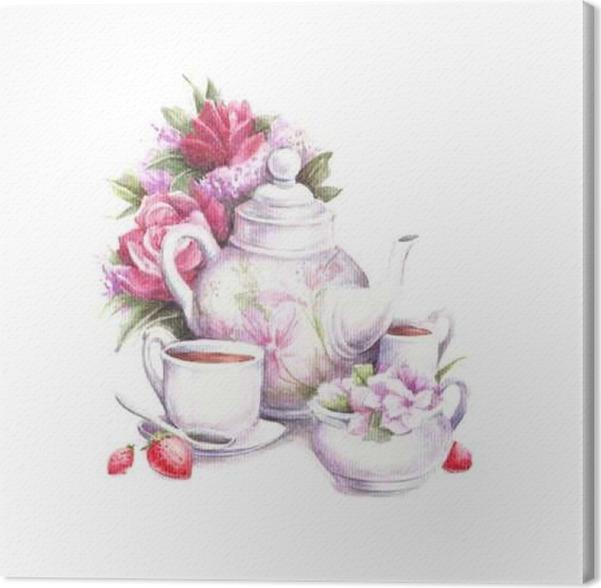 Cuadro en Lienzo Composición con la tetera, flores, tazas y fresas ...