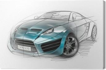 Cuadro en Lienzo Concepto bosquejo coche. Diseño original del coche.