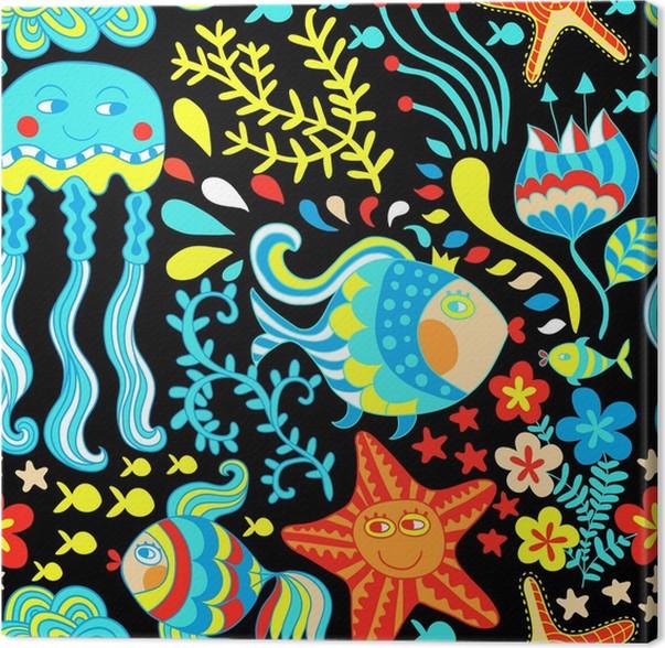 Cuadro en Lienzo Conjunto de dibujos animados con el mar vivo ...