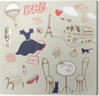 Cuadro en Lienzo Conjunto de la mano dibujado símbolos de París
