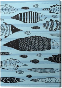 Cuadro en Lienzo Conjunto de pescados divertidos
