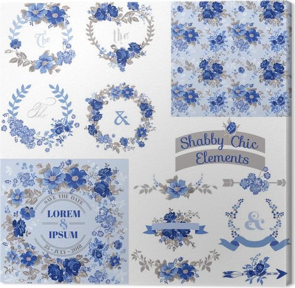 Cuadro en Lienzo Conjunto floral de la vendimia - Marcos, cintas ...