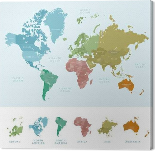 Cuadro en Lienzo Continentes y países en el mapa mundial marcados ...