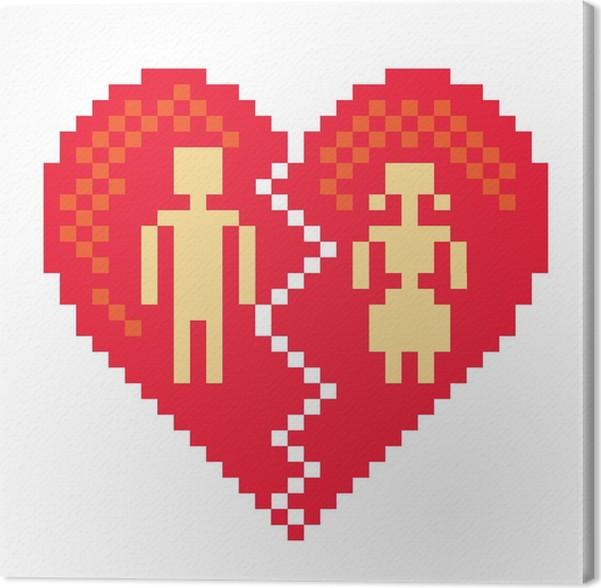 Cuadro en Lienzo Corazón roto en píxeles - ilustración • Pixers ...