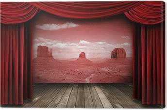 cuadro en lienzo cortinas rojas del teatro con el contexto del paisaje del desierto cortinas - Cortinas Rojas