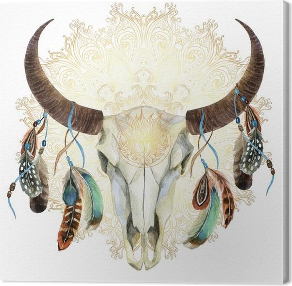 Cuadro en Lienzo Cráneo de la vaca de la acuarela con las plumas ...