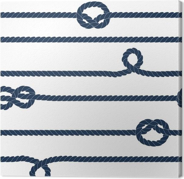 Cuadro en Lienzo Cuerdas y nudos Navy rayas patrón transparente en ...