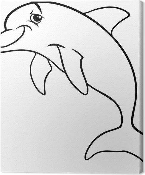 Cuadro en Lienzo Delfín de animales de dibujos animados de libro ...