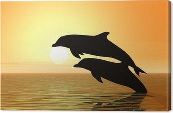 Cuadro en Lienzo Delfines y la puesta del sol