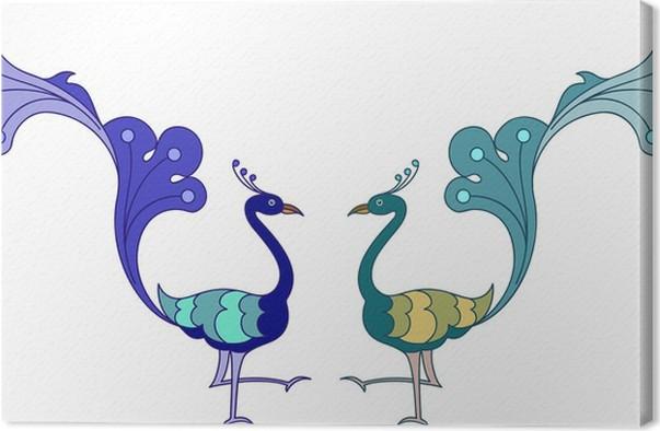 Cuadro en Lienzo Dibujado a mano del pavo real • Pixers® - Vivimos ...