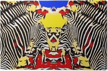 Cuadro en Lienzo Dibujo y pintura cebras con el fondo amarillo y azul roja