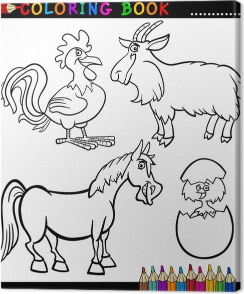 Cuadro en Lienzo Dibujos animados animales de granja para colorear ...