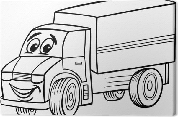 Cuadro en Lienzo Dibujos animados camión divertido para colorear ...