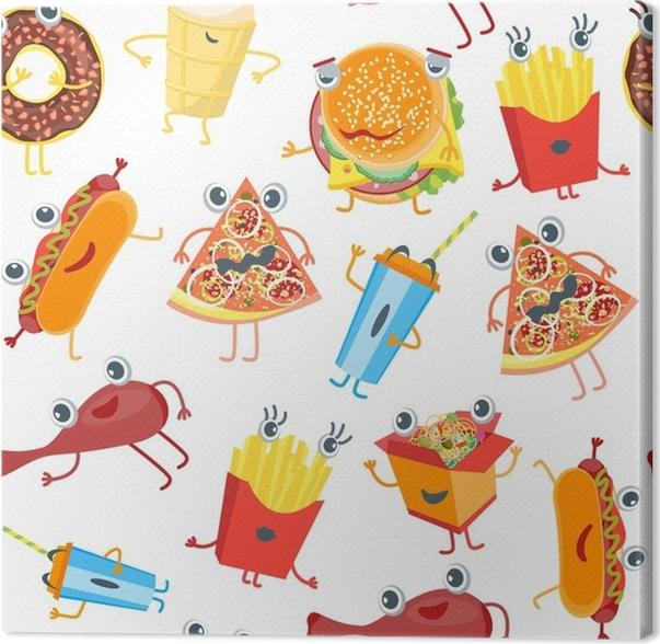 Cuadro en Lienzo Dibujos animados color comida rápida personajes ...