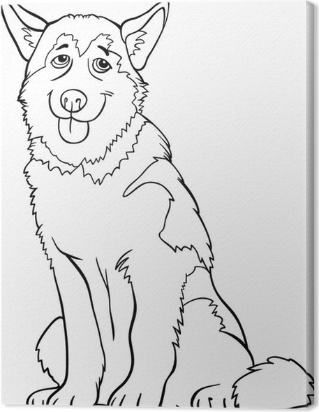 Cuadro en Lienzo Dibujos animados husky o malamute perro para ...