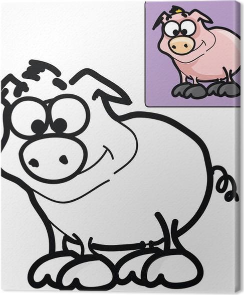 Cuadro en Lienzo Dibujos para colorear de cerdo de dibujos animados ...