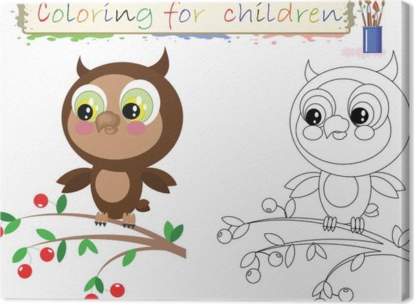Cuadro en Lienzo Dibujos para colorear para niños, búho lindo ...