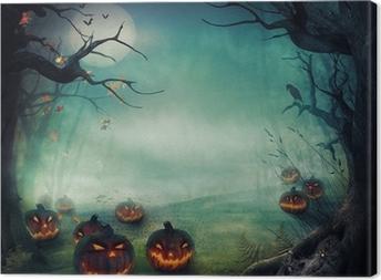 Cuadro en Lienzo Diseño de Halloween - calabazas Bosque