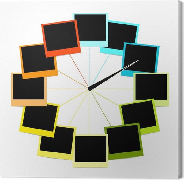 Cuadro en Lienzo Diseño de reloj creativa con marcos de fotos ...