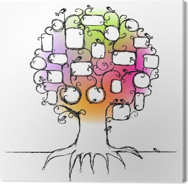 Cuadro en Lienzo Diseño del árbol de familia, inserta sus fotos en ...