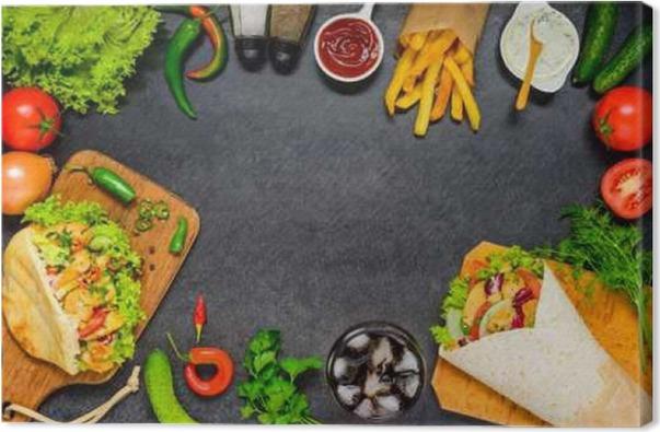 Cuadro en Lienzo Doner Kebab y Shawarma con marco de espacio de la ...