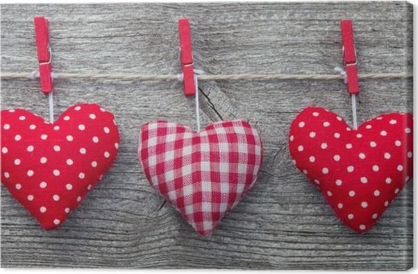 Cuadro en Lienzo Drei memoria Herzen - Tres corazones rojos • Pixers ...