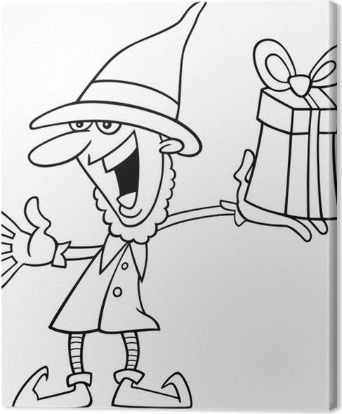 Cuadro en Lienzo Duende de la navidad para colorear libro • Pixers ...