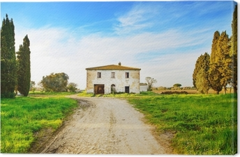 Cuadro en Lienzo Edad abandonó la casa rural, carretera y árboles en sunset.Tuscany, Ita