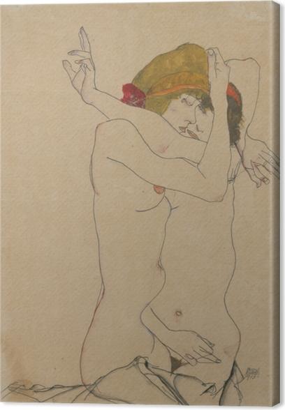 Cuadro en Lienzo Egon Schiele - Dos mujeres que abrazan - Reproducciones