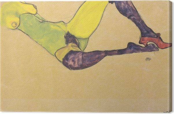 Cuadro en Lienzo Egon Schiele - Mujer con medias azules - Reproducciones