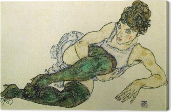 Cuadro en Lienzo Egon Schiele - Mujer de descanso con las medias verdes - Reproducciones