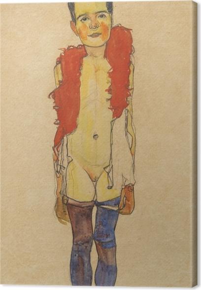 Cuadro en Lienzo Egon Schiele - Una muchacha con una boa - Reproducciones