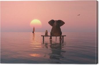 Cuadro en Lienzo El elefante y el perro sentado en el medio del mar