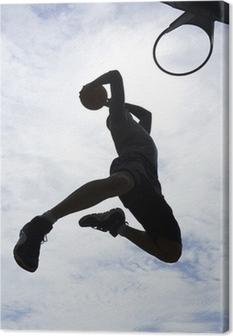Cuadro en Lienzo El jugador de baloncesto de la clavada silueta