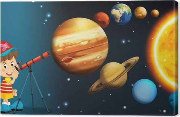 Cuadro en Lienzo El sistema solar - Vía Láctea - Astronomía para niños - Espacio exterior