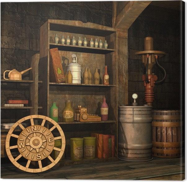 Cuadro en Lienzo El sótano de los objetos antiguos retro • Pixers ...