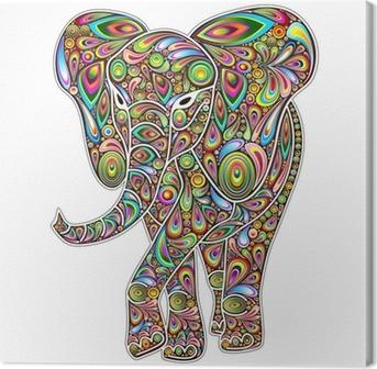Cuadro en Lienzo Elefante Psychedelic Pop Art Design en Blanco