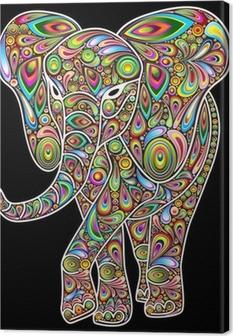 Cuadro en Lienzo Elefante Psychedelic Pop Art Design en Negro