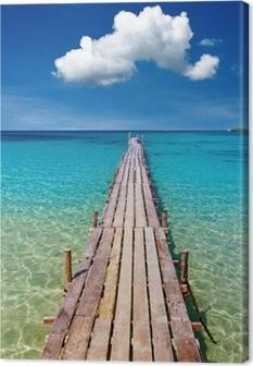 Cuadro en Lienzo Embarcadero de madera, isla de Kood, Tailandia