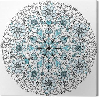 Cuadro en Lienzo Encaje floral marco redondo de la vendimia