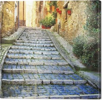 Cuadro en Lienzo Encantadoras calles antiguas de pueblos medievales de Italia