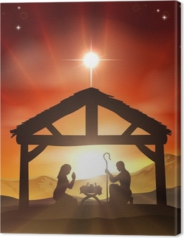 Cuadro en Lienzo Escena de la natividad de la Navidad cristiana