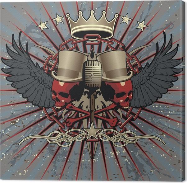 Cuadro en Lienzo Estilo fresco tatuaje emblema rock. Útil para los ...