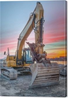 Cuadro en Lienzo Excavadora en paisaje puesta del sol