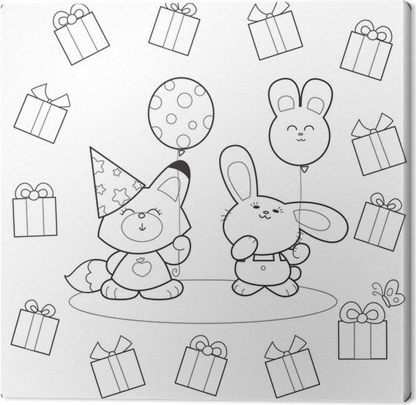 Cuadro en Lienzo Fiesta de cumpleaños para colorear con globos y ...
