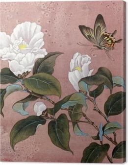 Cuadro en Lienzo Flor de azalea y la mariposa